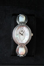 ECCLISSI Sterling Silver Mother of Pearl Floral Design Link Bracelet Watch! NIB!