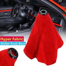 Racing Hyper Fabric shift knob Shifter Boot Cover MT/AT Red Stitches Universal