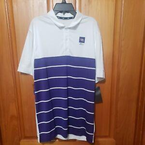 Nike LSU Tigers White/Purple Striped PoloGolf Shirt Men's M, NWT $65 CD2147-100