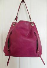 Big Liz Clairborne Pink Cow Hide Leather Satchel Shoulder Bag 2 zip pockets EUC