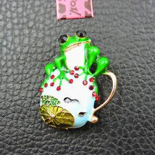 Tadpole Crystal Charm Brooch Pin Gift Betsey Johnson Green Enamel Cute Frog