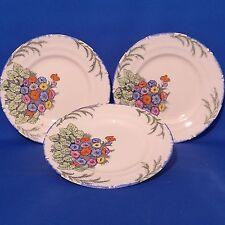 """Parrott & Co Coronet Ware - 3 x Cake Plates (9"""", 23cm) Vintage Hand Painted VGC"""