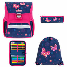 4 Teile SET HERLITZ LOOP +Plus Schulranzenset Schultasche BUTTERFLY DREAMS PINK