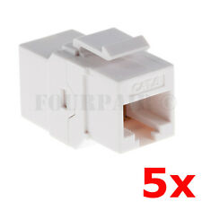 5 Pack - CAT6 Inline Coupler Keystone RJ45 Female Snap-In Jack Insert - White