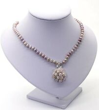 Freshwater Pearl Necklace With Pearl Cluster Pendant In Plum
