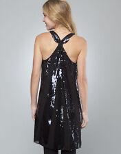 JUICY COUTURE black sequin silk party dress abito vestito donna paillettes M (S)