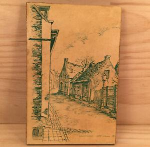 """HOUTSTRAAT 1957 NEDERLANDS """"Beige"""" Vintage Landscape Sketch Decorative Picture"""