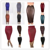 Damen Sexy Leder Look Bleistiftrock Pencil Skirt High Waist Business Midi Kleid