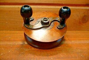 Vintage Wood & Brass Large Fishing Reel Wooden T Antique