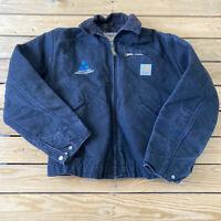 Carhartt Men's Full zip Blanket Lined Embroidered Jacket Size 40 Black N8