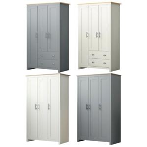 3 Door & Combination Wardrobe Traditional Bedroom Furniture Matt Grey & Cream