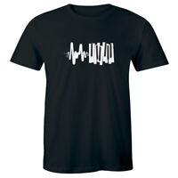 Piano Keyboard Heartbeat Black T-Shirt for Men Music Lover Tee