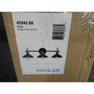 Kichler 45945BK Clyde Vanity Light, 3-Light 225 Total Watts, Black