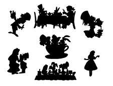 Die Cut outs Silhouette Alice in wonderland Tea party Shapes x 14 set fairy jar