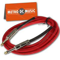 "10 ft Red Woven Guitar Instrument Cable Cord Effect Patch 1/4"" Plugs"
