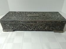 Vtg Godinger Silver Plated Embossed Art Nouveau Footed JEWELRY BOX Rectangle