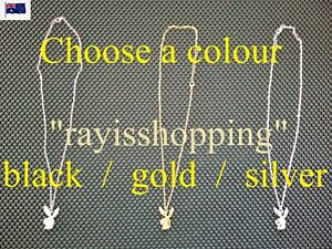 1 x Bunny Charm Necklace, Playboy Play Boy Choose a  Colour BLACK, GOLD, SILVER