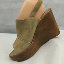 0fc460949202 Mila Paoli Sandals Shoes Size 9 M Tan Suede Wedge Heel Open Toe Italy Made  NWOB