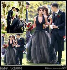 Vintage Black Halter Gothic V Neck Lace Tulle Wedding Dresses Bridal Gown Custom