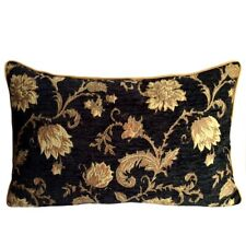 "Upholstery/Chenille Black 14""x24"" Pillow Case/Cushion Cover Yellow/Orange Flower"