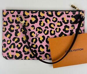 LOUIS VUITTON Neverfull MM Wild at Heart Cheetah Leopard Purse Bag Pouch Clutch