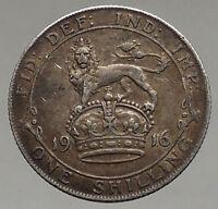 1916 UK Great Britain United Kingdom KING GEORGE V Silver Shilling Coin i56705