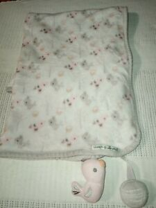 Blankets and Beyond Gray Pink Lovey Security Baby Fleece Plush Blanket 26x32""