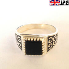 Sterling 925 Silver Signet Ring, Black Onyx Gemstone,Size 10.5 Hand Made