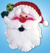 Felt Embroidery Kit ~ Design Works Jolly Santa Face Christmas Ornament #DW575