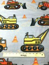 "BTY*LARGE ORANGE & YELLOW CONSTRUCTION TRUCKS ON GREY FLEECE FABRIC 1 YD 60X36"""