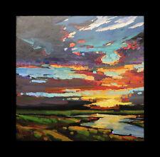 HAWKINS Sunset River Craftsman Impressionism Landscape Original Art Oil Painting