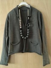 ELEMENTE CLEMENTE Lagenlook Arty Quirky Boho Laine mérinos Cardigan Taille 12 14?