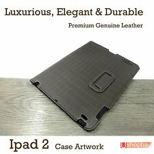 Leather iPad 2 Greyish Brown Smart Case Pouch Cover +Screen Protecter
