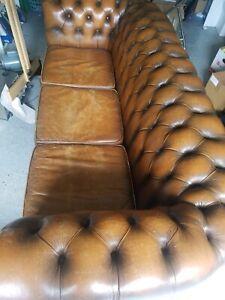 Vintage chesterfield leather sofa -Sleek, Elegant, Premium Quality,Rare/Stylish!