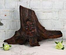 Hand carved Wooden Tree Trunk Driftwood Figurine Troll Green Man Folk art Nice