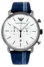 EMPORIO ARMANI 43MM CHRONO Silver Sunray Dial Men's Watch AR11202