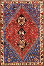Excellent Vintage Tribal Geometric Abadeh Nafar Area Rug Hand-Knotted Carpet 6x9