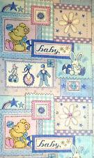 "NURSERY Baby Blue Bear Bunny Patch Cotton Fabric  71"" x 44"""