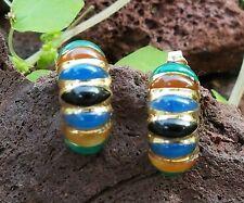 Chrysoprase Onyx Carnelian Chalcedony 14k Yellow Gold Earrings Vintage Jewelry
