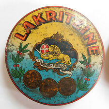 ANTIQUE BOX OF LICORICE SHEET METAL LITHOGRAPHIEE 20th LAKRITZINE STRASBOURG