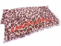 Authentic Louis Vuitton Silk Cashmere Scarf Stole Shawl Leopard Pink Q137