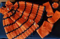 Vintage Handmade Crocheted Baby Doll Dress Set - Orange - 5 Piece Set