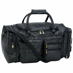 """DUFFLE TOTE BAG 21"""" Black Pebble Grain Leather Gym Travel Carry On Mens Luggage"""