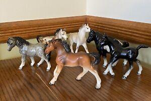 Vintage Lot of 6 MIJ Hand Painted Porcelain Betson's Miniature Horse Figurines