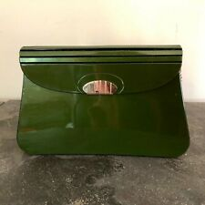 ipes Authentic Vintage Olive Green Leather and Glass Look Clutch Purse