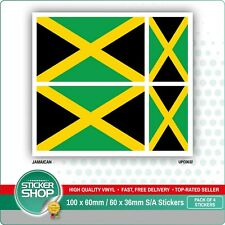 4 x JAMAICAN / JAMAICA FLAG VINYL CAR VAN IPAD LAPTOP STICKER