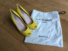 LK Bennett Women's Yellow Leather Peep Toe High Heel Wedge Shoes, UK 6.5 EU 40