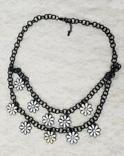 Black Daisy Chain Multi Strand Necklace