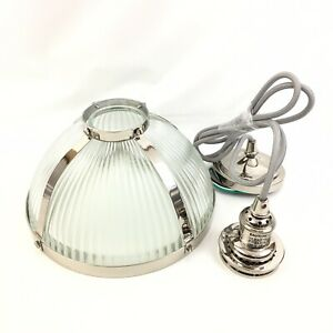 Pottery Barn Large Nickel Finish Ribbed Glass Cord Pendant #5970