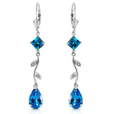 3.97 Carat 14K Solid White Gold Chandelier Earrings Natural Diamond Blue Topaz